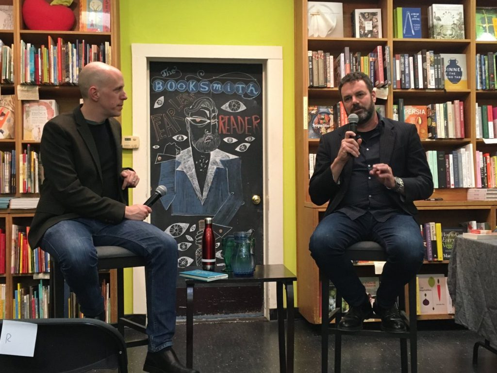 John August and Grant Faulkner at the Booksmith